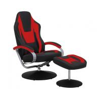 Black & Red Vinyl Recliner Home Office Desk Chair With Ottoman / Adjustable Computer Chair Manufactures