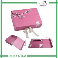 Flat Folding Magnetic Gift Boxes Texture Paper Decorative Gift Box With Ribbon Manufactures
