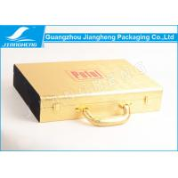Gold shiny faux leather gift storage box logo red hot stamped with handle Manufactures
