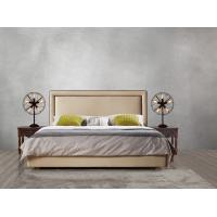 China 2017 new design of Leather / Fabric American style Bedroon furniture Upholstered headboard set bed/king size Bed wholesale