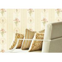Concise European Flowers Pattern Interior Decoration Wallpapers With Vertical Striped Manufactures