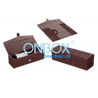 Foldable Leather Wine Packaging Boxes Display With Magnet Closure Manufactures