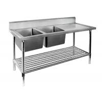 China Restaurant Prep Table With Sink 1 / 2 / 3 Sinks Stainless Steel Sink Table wholesale