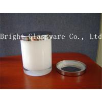 Best design white color glass candle holder with metal lid Manufactures