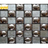 China 48 × 48mm Round Grey and Gold Glass Mosaic Tile Chips For Indoor Building on sale