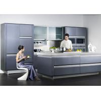 China Wooden Frame Blue Lacquer Finish Kitchen Cabinets With Frost Glass Doors wholesale