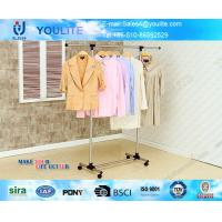 Metal Pipe Portable Clothes Hanger Rack with Wheels , Commercial Clothing Display Racks Manufactures