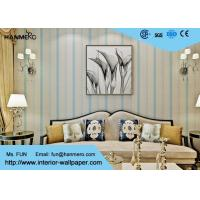 Living Room Modern Striped Wallpaper Blue with Natural Plant Fibers Manufactures