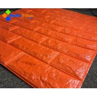 Orange Red 3D PE Foam Wall Sticker Panels Wallpaper Decor Manufactures