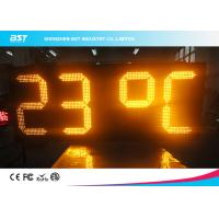 China Yellow Outdoor Led Clock Display Timer Digital Clock With Temperature Display on sale