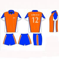 Sublimated Soccer Jersey Shirts And Shorts With Collar , Team Football Uniforms Manufactures