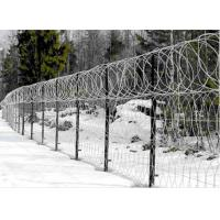 Single / Double Twisted Razor Barbed Wire Fence  Low Carbon Steel With PVC Coated Manufactures