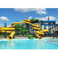 Fiberglass Spiral Tube Water Slide With Closed Slide / Open Slide Manufactures