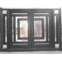 China Safety glass front door wrought iron glass entry door on sale