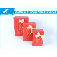 Handmade Rigid Cardboard Gift Boxes Packaging Hot Stamping With Ribbon Bowknot Manufactures
