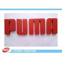 OEM Puma CNC Wood Engraving Logo / Red MDF Brand Label For Wood Display Stand