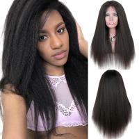 China Yaki Kinky Straight Full Lace Wigs Human Hair No Chemical No Tangle wholesale