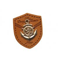 China custom leather labels for hats garment leather tags wholesale with metal logo wholesale