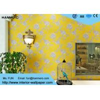 Modern Yellow Color Non Woven Wallpaper Washable For Livingroom , Size Customized Manufactures