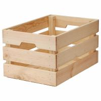 China Vintage Unfinished Wood Large Storage Gift Crate Basket for Home or Office Storage and Organization with Handles on sale