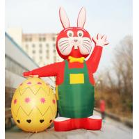 Printing Outdoor 6m Decorative Red Inflatable Easter Rabbit with Egg for Easter Manufactures