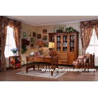 Full solid wood home office furniture bookcase set classical home office desk chair bookshelf Manufactures