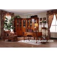 Full solid wood home office furniture corner bookcase set classical home office desk chair bookshelf Manufactures