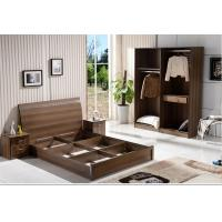 Cheap IKEA style rent Apartment home furniture melamine plate bed 1.2m- 1.5m-1.8 m light walnut color Manufactures