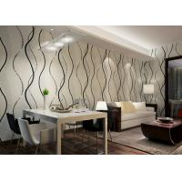Quality Dining Room PVC Modern Removable Wallpaper With Black Wave Printing for sale