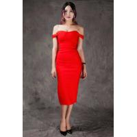 Summer Bodycon Dresses Red , Mid Length Bodycon Dresses A - Line