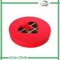 Eco - Friendly Red Custom Paperboard Chocolate Gift Packs Round Box ODM / OEM Manufactures