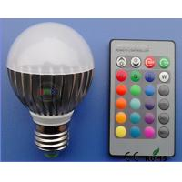 AC100-240V 3W E27 RGB Indoor Led Bulb with 24 key controller,2 years warranty