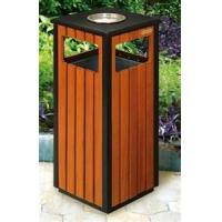Soft texture outdoor batten rubbish bins  with ashtray for village, street, park Manufactures