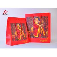 High End Red Color Cute Christmas Paper Bags With Handles Matte Lamination Manufactures