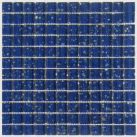 China Dark Blue Foil Crystal Glass Mosaic Tile For Interior & Exterior Wall on sale