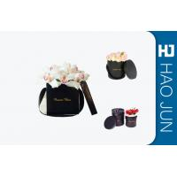 China Black Flower Packing Boxes , Small Cardboard Boxes With Handles / Lids wholesale