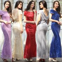 hot sale polyester short sleeve long women Bodycon evening beaded dress with gold sequin in red blue purple gray beige Manufactures