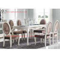 China Ivory Neoclassical Dining Room Furniture collection by rubber wood with Glass or Marble table top wholesale