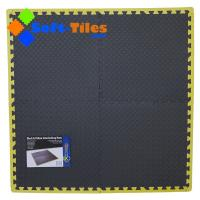 Black Foam Interlocking Floor Tiles with yellow borders Manufactures