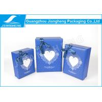 Embossed Logo Blue Cardboard Heart Shaped Gift Box For Candy / Chocolate Manufactures