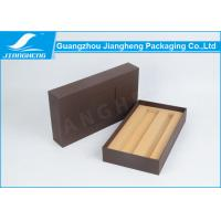 Brown Textured Paper Cardboard Gift Boxes Personalized Logo Label With Front Slot Manufactures