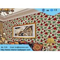 Red Non Woven Vintage Style Floral Wallpaper For Room Decoration , Eco - Friendly Manufactures