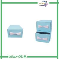 Custom Sliding Paper Gift Boxes Blue / Brown Cardboard Paper Drawer Box Manufactures