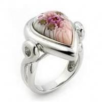 China 2012 new fashion heart shape customized murano glass ring for gift on sale