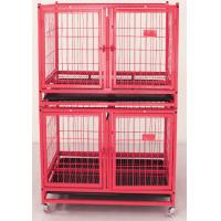 China folding heavy duty wire tube dog cage with wheels for large dogs on sale