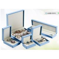 China Shape Customized Blue PU Leather Jewelry Box Free Sample For Women Jewelry Gift Boxes on sale