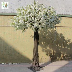 China UVG 8ft White fake cherry blossom trees in fiberglass trunk for home garden landscaping on sale