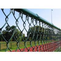 Green PVC Coated Chain Link Fencing , Playground Plastic Coated Wire Mesh