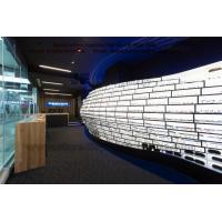 Clearly Optical Flagship store interior in Golden color stainless steel racks with LED light Glass Box  Display Fixture Manufactures