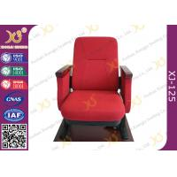 China Contoured Seat Cushion Auditorium Chairs Strong Metal Base With Wood Armrest on sale